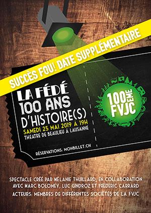 Affiche de l'évènement 100e anniversaire de la FVJC – La Fédé: 100 ans d'histoire(s)