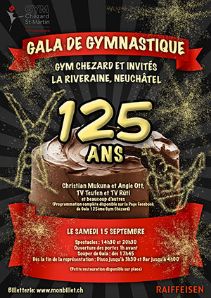 Affiche de l'évènement Gala de gymnastique – 125 ans de Gym Chézard