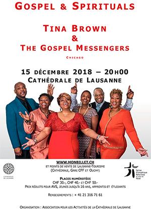 Affiche de l'évènement L'Association pour les Activités de la Cathédrale de Lausanne présente – Tina Brown & The Gospel Messengers