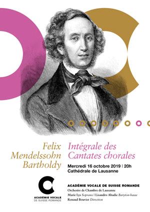 Affiche de l'évènement Académie Vocale de Suisse romande – Intégrale des Cantates chorales de Mendelssohn
