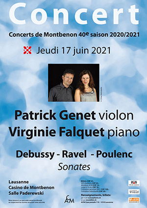 Affiche de l'évènement 40e saison des Concerts de Montbenon – Patrick Genet et Virginie Falquet