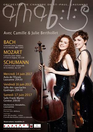 Affiche de l'évènement Amabilis en concert avec Camille et Julie Berthollet  – Bach, Mozart & Schumann