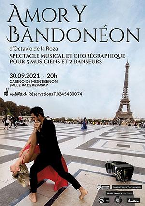 Affiche de l'évènement Un spectacle musical et chorégraphique d'Octavio de la Roza – Amor Y Bandoneón