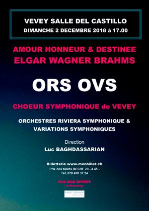 Affiche de l'évènement Chœur Symphonique de Vevey, ORS & OVS – Amour, Honneur et Destinée