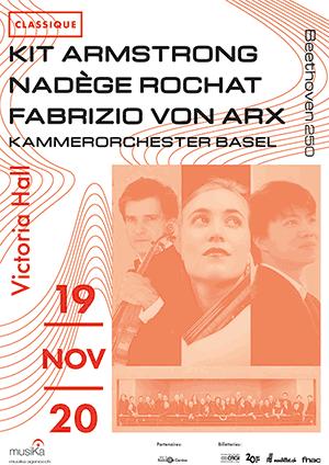 Affiche de l'évènement Avec le Kammerorchester Basel – Kit Armstrong, Nadège Rochat & Fabrizio von Arx
