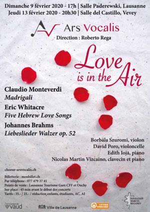 Affiche de l'évènement Ars Vocalis – Love is in the Air