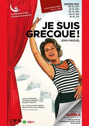 Affiche de l'évènement Théâtre & chansons – Je suis grecque!