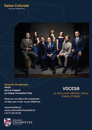 Affiche de l'évènement Ouverture de la saison culturelle de Champittet 2021-2022 – Ensemble vocal Voces8