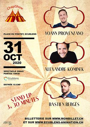 Affiche de l'évènement ChapiShow Festival – A. Kominek, Y. Provenzano et B. Bergès