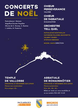 Affiche de l'évènement Chœur de l'Abbatiale de Romainmôtier et Chœur Persévérance de Vallorbe – Concert de Noël