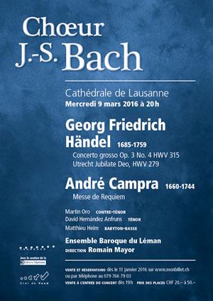 Affiche de l'évènement Choeur Bach & Ensemble Baroque du Léman – Requiem de Campra & autres œuvres