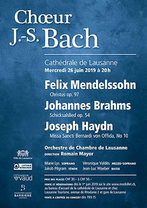 Affiche de l'évènement Choeur Bach et OCL – Mendelssohn, Brahms & Haydn
