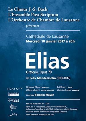 Affiche de l'évènement Choeur Bach, Ensemble Post-Scriptum et OCL – Elias de Felix Mendelssohn