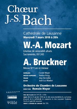Affiche de l'évènement Choeur Bach et OCL – Mozart, Bruckner