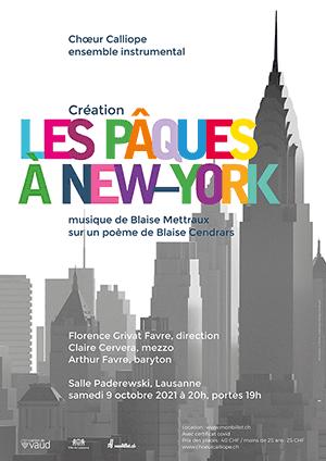Affiche de l'évènement Chœur Calliope – Création – Les Pâques à New-York