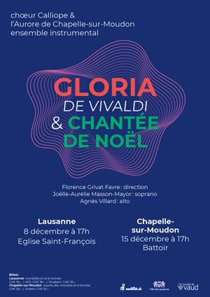 Affiche de l'évènement Chœur Calliope & l'Aurore de Chapelle-sur-Moudon – Gloria de Vivaldi & Chantée de Noël