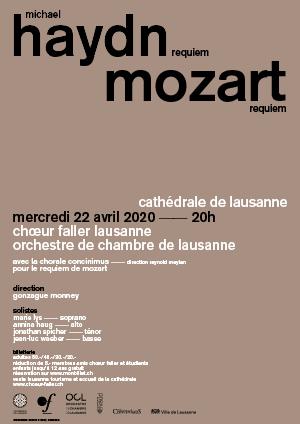 Affiche de l'évènement Choeur Faller Lausanne – Requiems de Mozart et Haydn