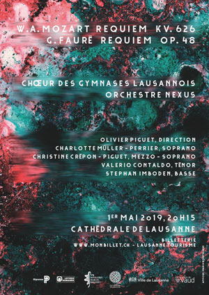 Affiche de l'évènement Chœur des Gymnases Lausannois & Orchestre Nexus – Requiem – Mozart et Fauré