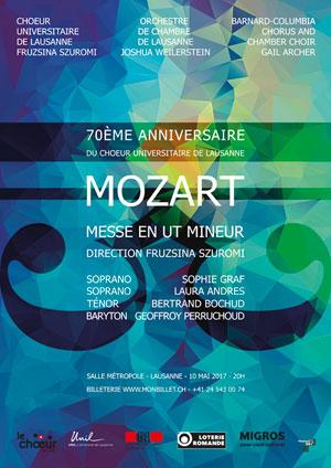 Affiche de l'évènement Chœur Universitaire de Lausanne – Mozart, Messe en Ut mineur