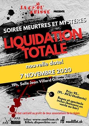 Affiche de l'évènement La Cool'Hisse présente : Soirée Meurtres et Mystères – Liquidation totale