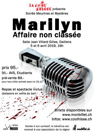 Affiche de l'évènement Souper Meurtres et Mystères – Marilyn, affaire non-classée