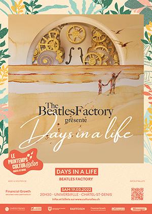 Affiche de l'évènement Les Cultur@iles - Musique – Beatles Factory – Days in a Life