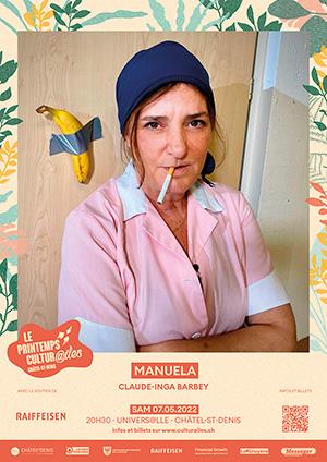 Affiche de l'évènement Les Cultur@iles - Humour – Claude-Inga Barbey – Manuela