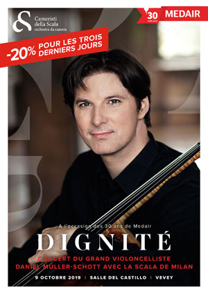 Affiche de l'évènement Pour les 30 ans de Medair – Concert de Daniel Müller-Schott et la Scala de Milan