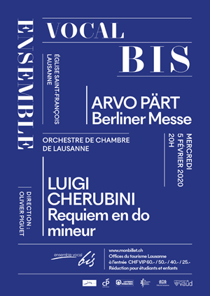 Affiche de l'évènement Ensemble Vocal Bis & OCL – Arvo Pärt, Luigi Cherubini