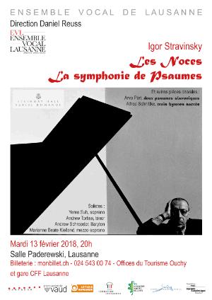 Affiche de l'évènement Ensemble vocal de Lausanne – Igor Stravinsky, Les Noces
