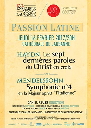 Affiche de l'évènement Ensemble Vocal de Lausanne – Passion Latine