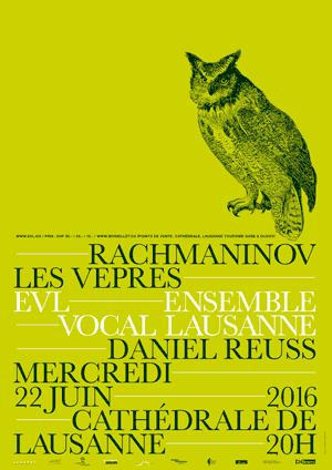 Affiche de l'évènement Ensemble Vocal de Lausanne, Daniel Reuss – Rachmaninov, Les Vêpres
