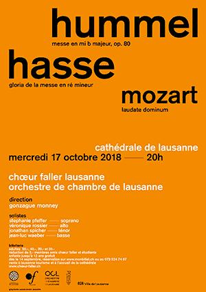 Affiche de l'évènement Choeur Faller Lausanne – Hummel, Hasse et Mozart