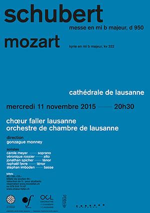 Affiche de l'évènement Schubert, Mozart – Choeur Faller et OCL