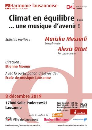 Affiche de l'évènement Harmonie Lausannoise – Climat en équilibre... une musique d'avenir!