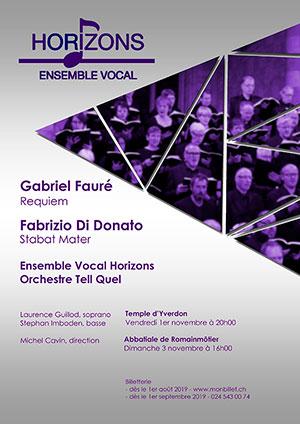Affiche de l'évènement Ensemble vocal Horizons et Orchestre Tell Quel – Requiem, Fauré & Stabat Mater, Fabrizio Di Donato