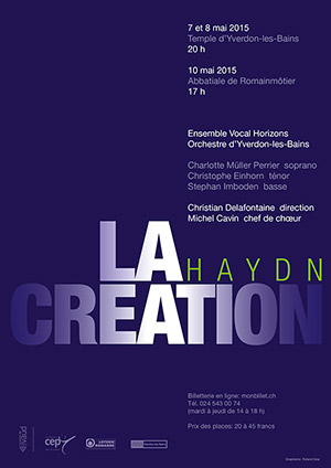 Affiche de l'évènement Ensemble Horizons et Orchestre d'Yverdon – La Création de Haydn