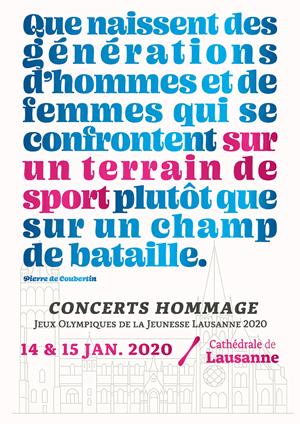 Affiche de l'évènement Jeux Olympiques de La Jeunesse Lausanne 2020 – Hommage à Pierre de Coubertin