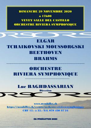 Affiche de l'évènement Orchestre Riviera Symphonique - dir. Luc Baghdassarian – Concert anniversaire