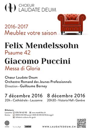 Affiche de l'évènement Laudate Deum – Mendelssohn & Puccini