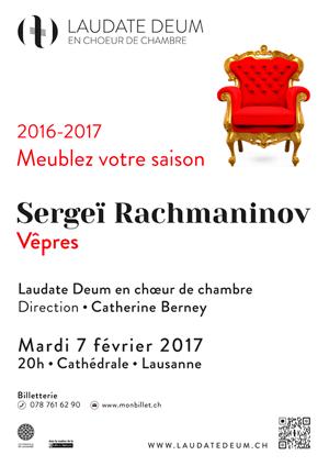 Affiche de l'évènement Laudate Deum en chœur de chambre – Rachmaninov, Les Vêpres