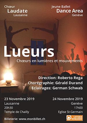 Affiche de l'évènement Chœur Laudate Lausanne, Jeune Ballet Dance Area Genève – Lueurs: chœurs en lumières et mouvements