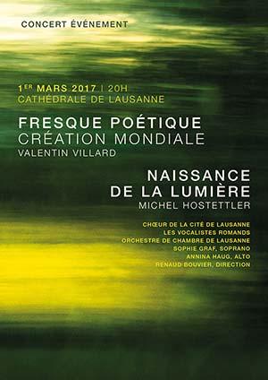 Affiche de l'évènement Choeur de la Cité, Les Vocalistes Romands, OCL – Naissance de la Lumière & Fresque Poétique