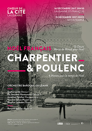 Affiche de l'évènement Choeur de la Cité de Lausanne et Orchestre Baroque du Léman – Noël Français : Charpentier et Poulenc