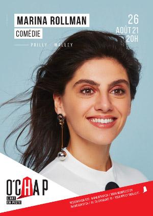 Affiche de l'évènement Programmation O'Chap: stand up – Marina Rollman – Un spectacle drôle