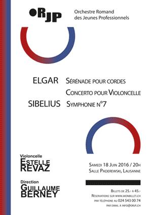 Affiche de l'évènement ORJP & Estelle Revaz – Elgar & Sibelius
