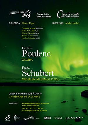 Affiche de l'évènement Ensemble Vocal Bis, Chapelle vocale Romainmôtier, Sinfonietta Lausanne – Poulenc, Schubert