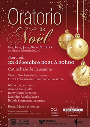 Affiche de l'évènement Chœur Pro Arte, OCL – Oratorio de Noël, J.-S. Bach