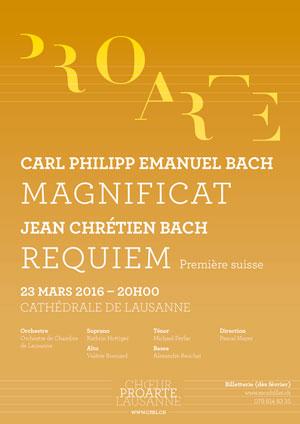 Affiche de l'évènement Pro Arte & OCL – Les Fils Bach: Magnificat, Requiem