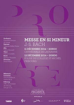 Affiche de l'évènement Chœur Pro Arte Lausanne – Messe en si mineur, J.-S. Bach
